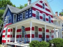 house painted like a U.S. flag